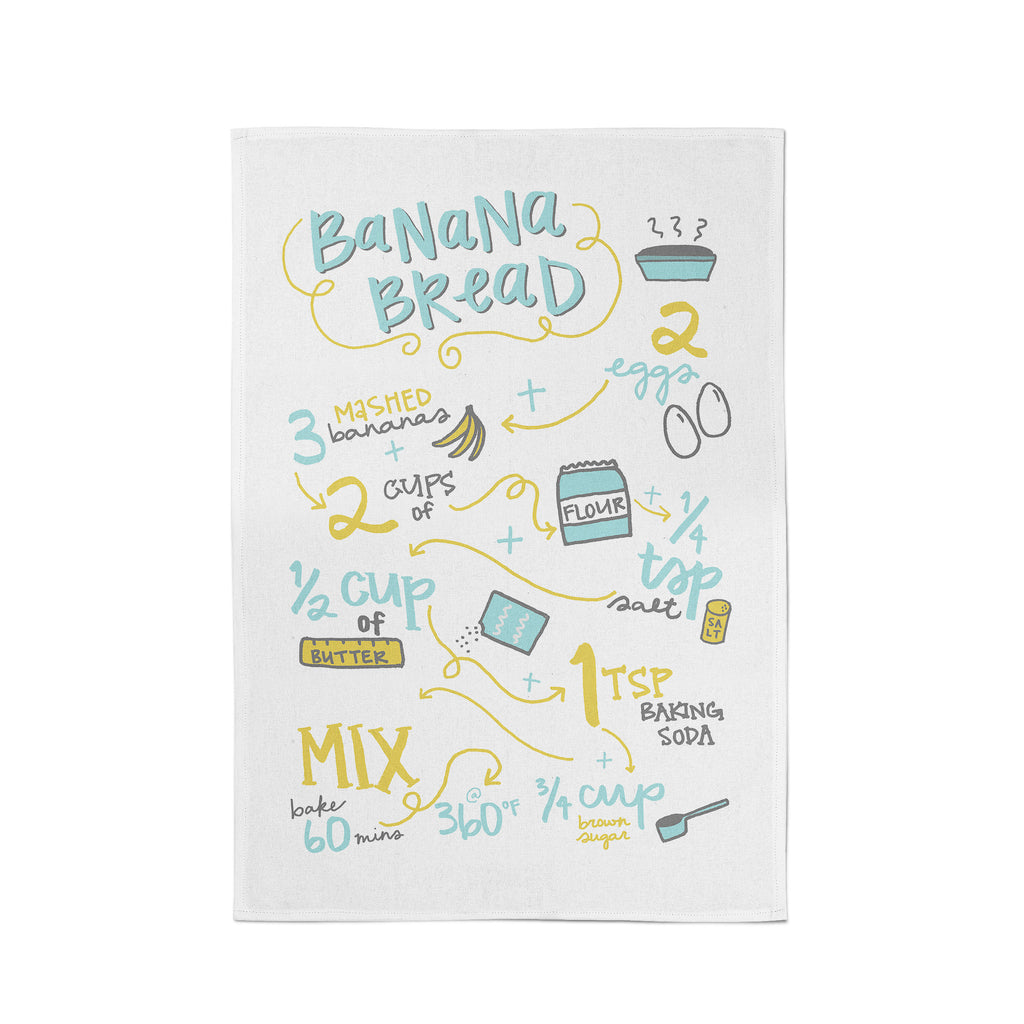Banana Bread Recipe Tea Towel