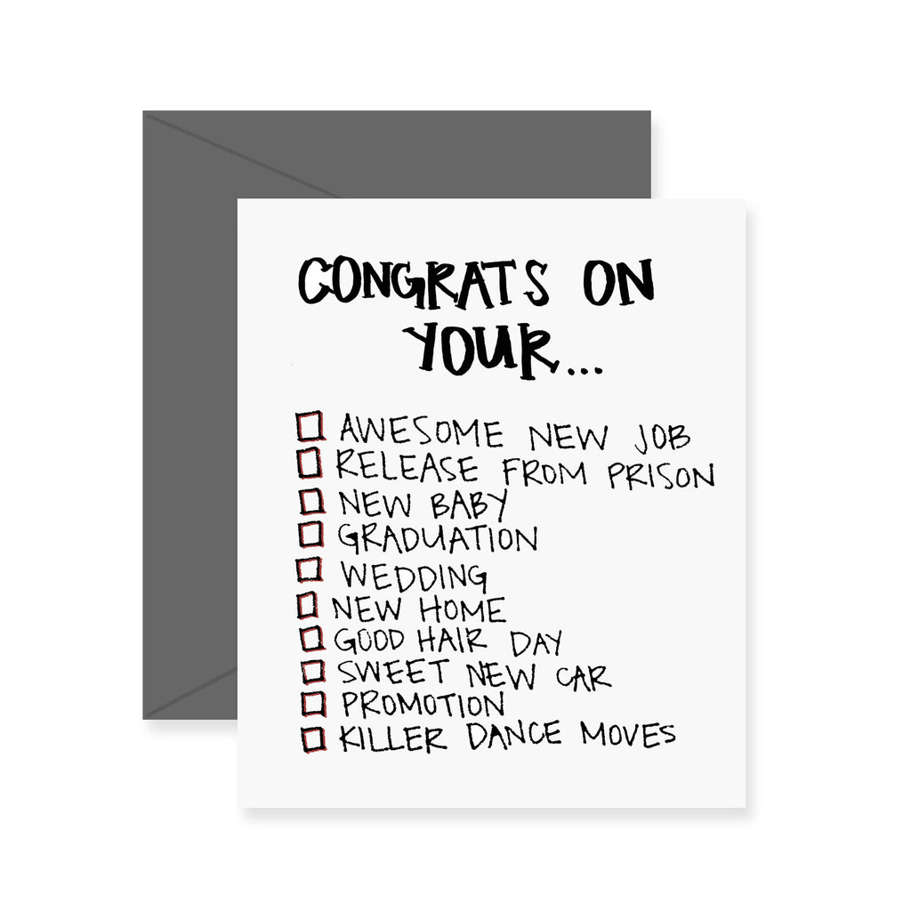 Congratulations Checklist Greeting Card Fresh Out Of Ink