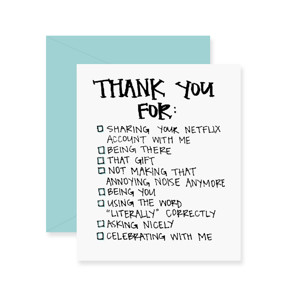 Thank You Checklist Greeting Card