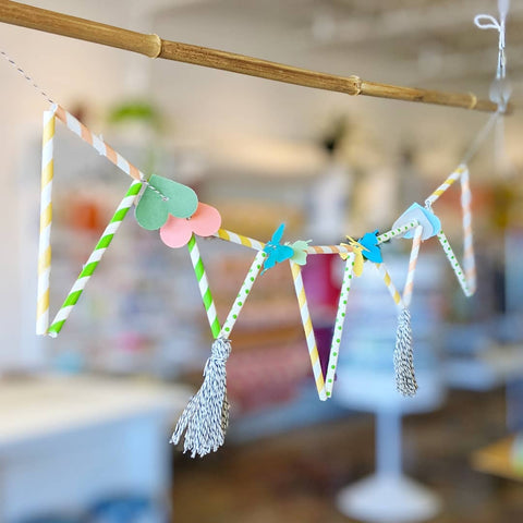 triangle bunting with tassels, multicolored, party decor, craft habit raleigh