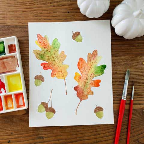 watercolor fall leaves from adult watercolor class in Raleigh North Carolina at Craft Habit Raleigh