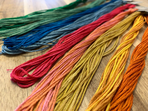 weeks dye works hand dyed embroidery floss at craft habit raleigh