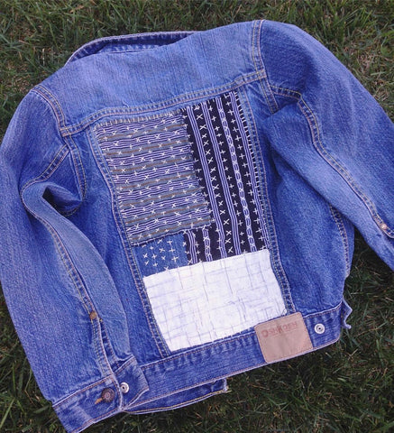 visible mending on jean jacket by artist Amanda McLaurin class at Craft Habit Raleigh
