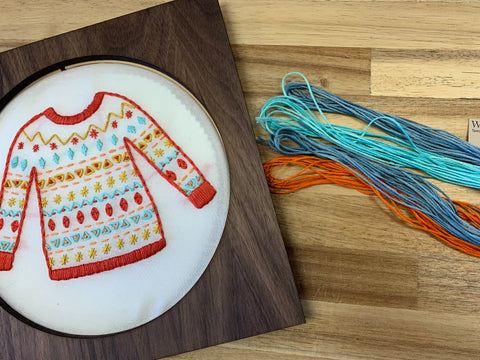 sweater weather embroidery kit with weeks dye works flosses raleigh north carolina