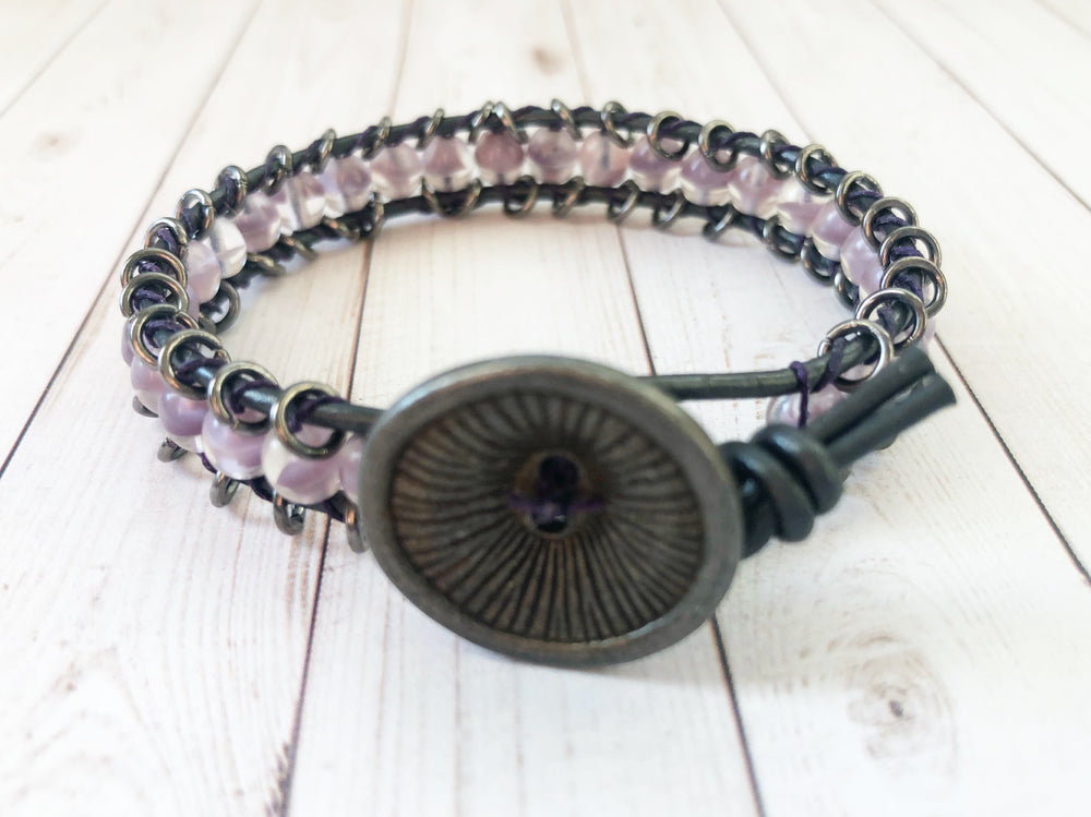 Leather & Linen Button Bracelet