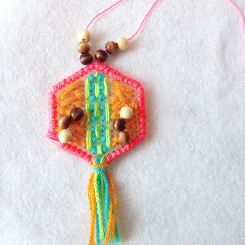 Craft With Me! Yarn Embroidered Pendants