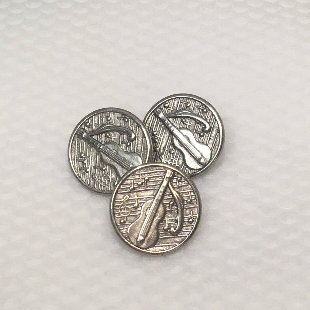Antique Silver Guitar Button