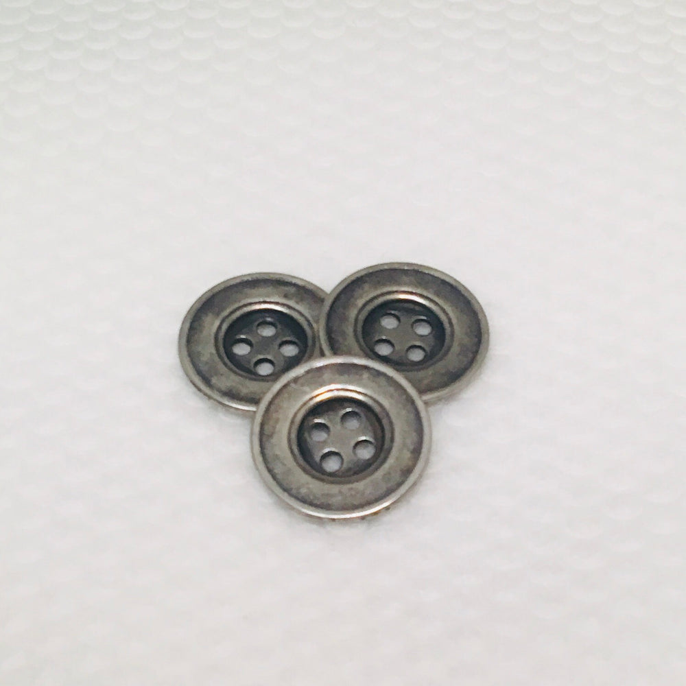 Antique Silver Four Hole Metal Button