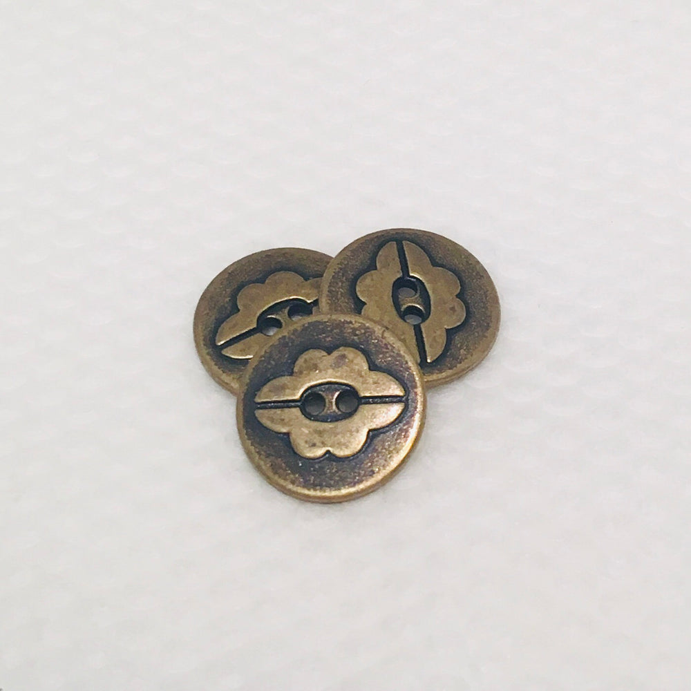 Antique Brass Flower Button