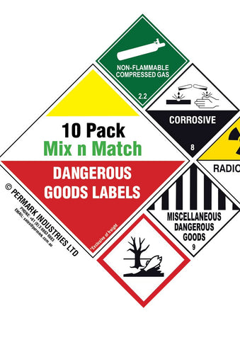 10 Pack Mix & Match Danger Signs / Labels