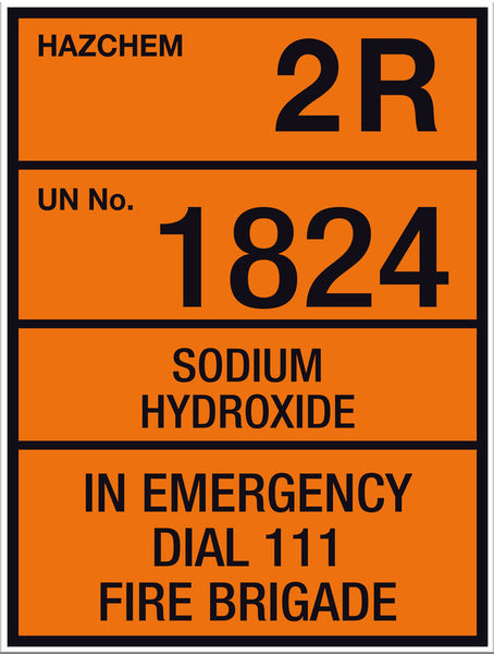 Hazchem Sodium Hydroxide Small Sign - Markit Graphics