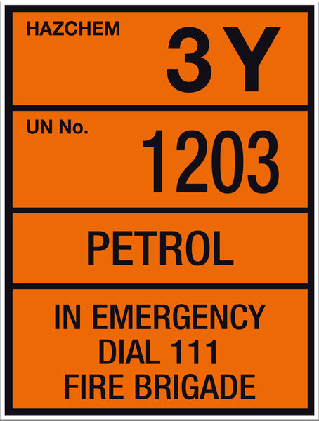 Hazchem Petrol UN1203 Small Sign - Markit Graphics