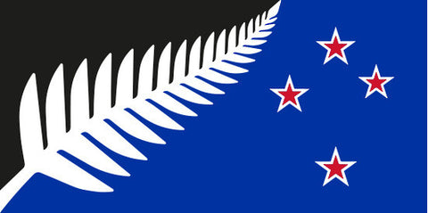 Silver Fern Design , Black Background , Rectangle shape, 200mm by 100mm - Markit Graphics