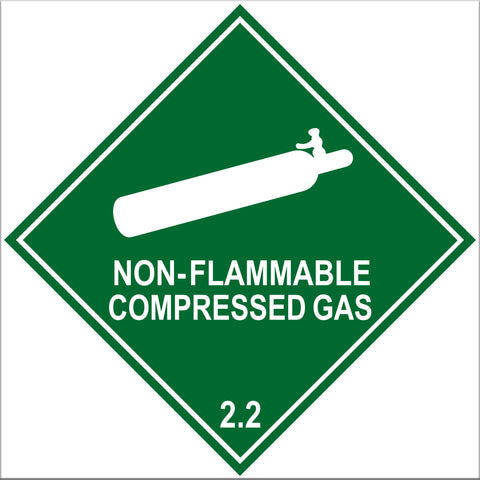 Non-Flammable Compressed Gas 2.2 Label Signs - 10 Pack