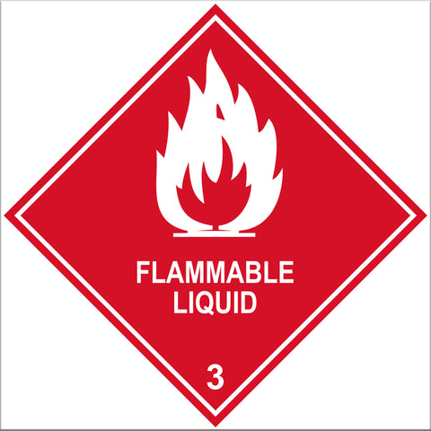 Flammable Liquid 3 Labels - 10 Pack