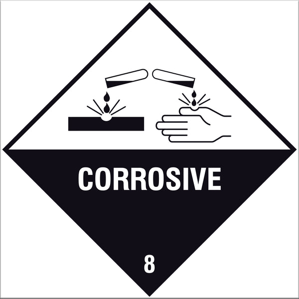 Corrosive 8 Label Signs - 10 Pack