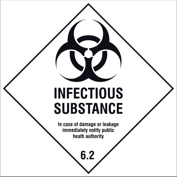Infectious Substance 6.2 Labels -  10 Pack