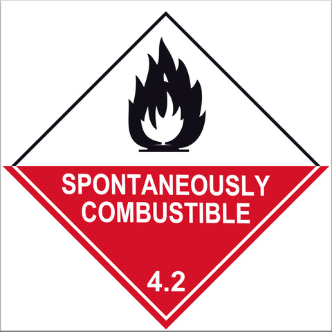 Spontaneously Combustible 4.2 Label Signs - 10 Pack