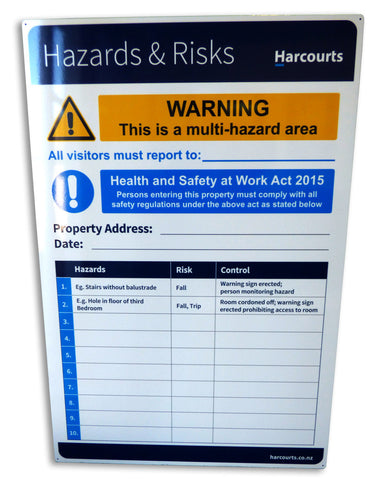 Harcourts Hazard and Risks Sign small, ideal for inside use, solid material 300mm x 400mm on White 4mm ACM with a Clear Overlaminate - Markit Graphics