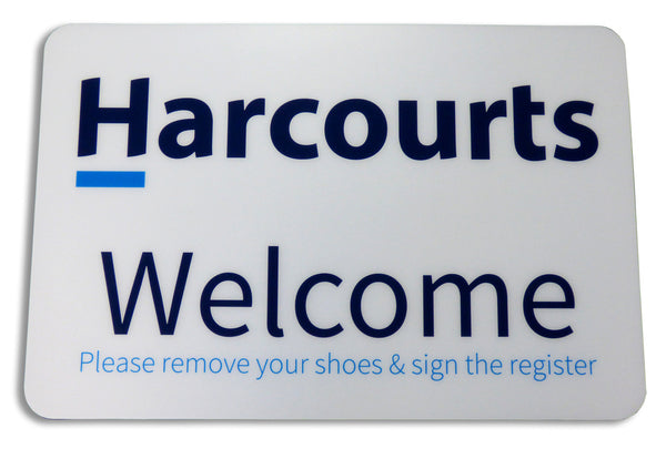 Harcourts - Floor Mats 400mm x 600mm, White Background - Permark Signs