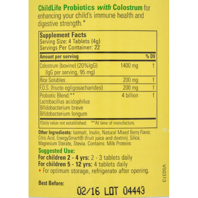 Childlife Probiotics Plus Colostrum Mixed Berry - 90 Chewable Tablets