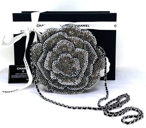 Chanel Timeless Crystal Camellia Runway Clutch
