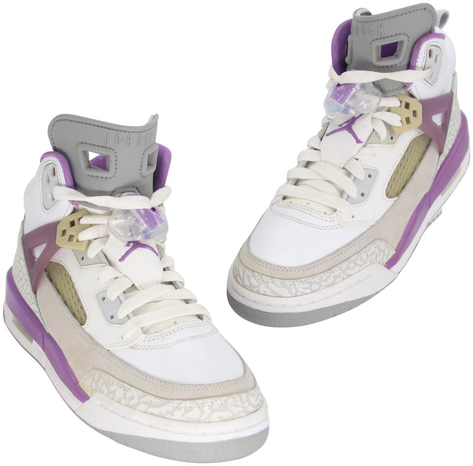 Air Jordan Purple White Grey Brooklyn Spike Lee 317321-103 Leather High Top 6.5y Sneakers