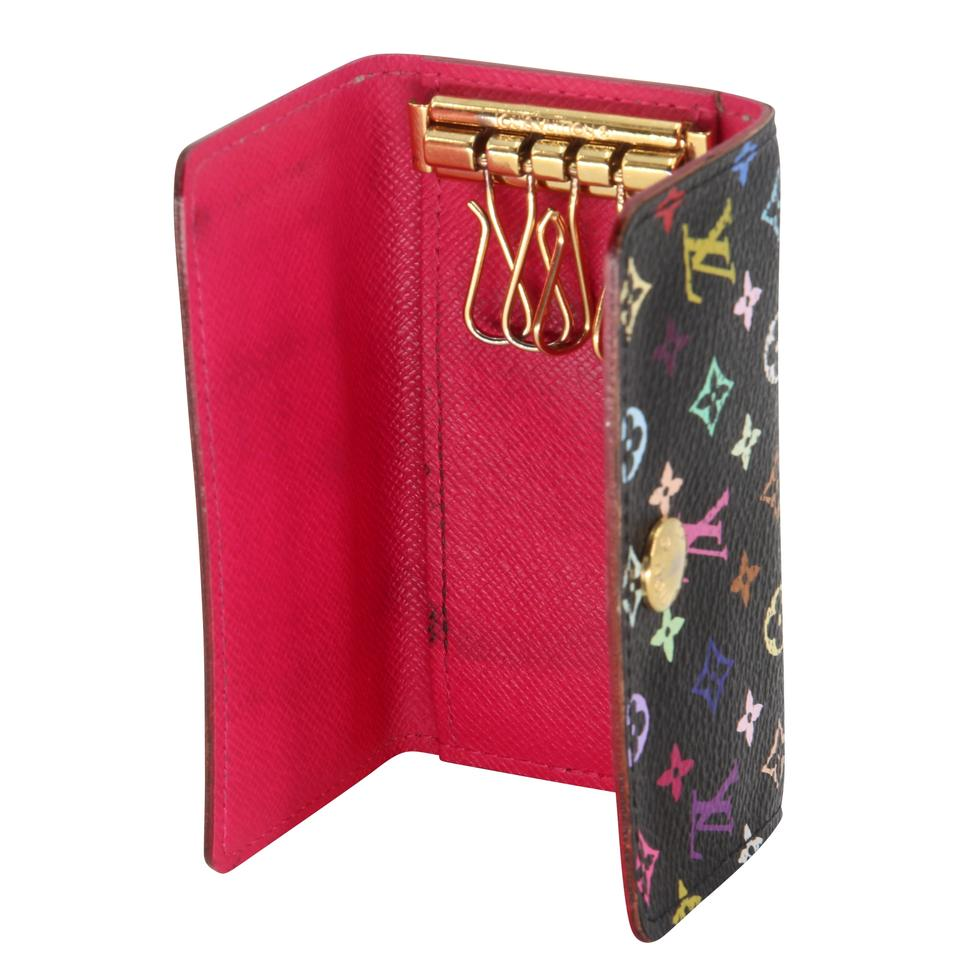 Louis Vuitton Black Pink Takashi Murakami Monogram Multicolore Multicles 4 Key Holder Wallet Tech Accessory