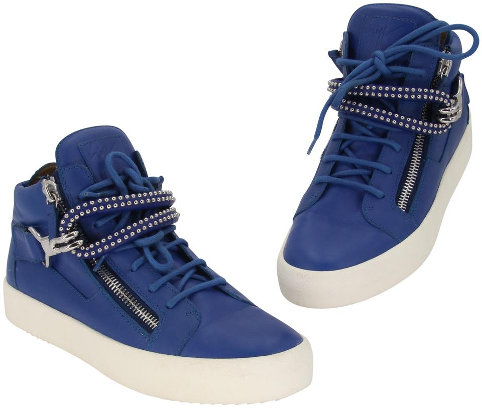 Giuseppe Zanotti Blue White Dual Studded Strap Lace Up Leather Sneakers 41.5 Formal Shoes