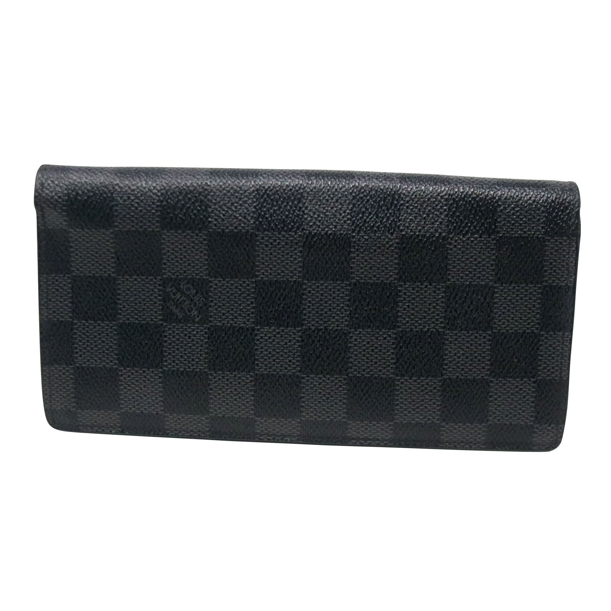 Louis Vuitton Gray Rare Brazza Damier Gm Graphite Canvas Bifold Wallet