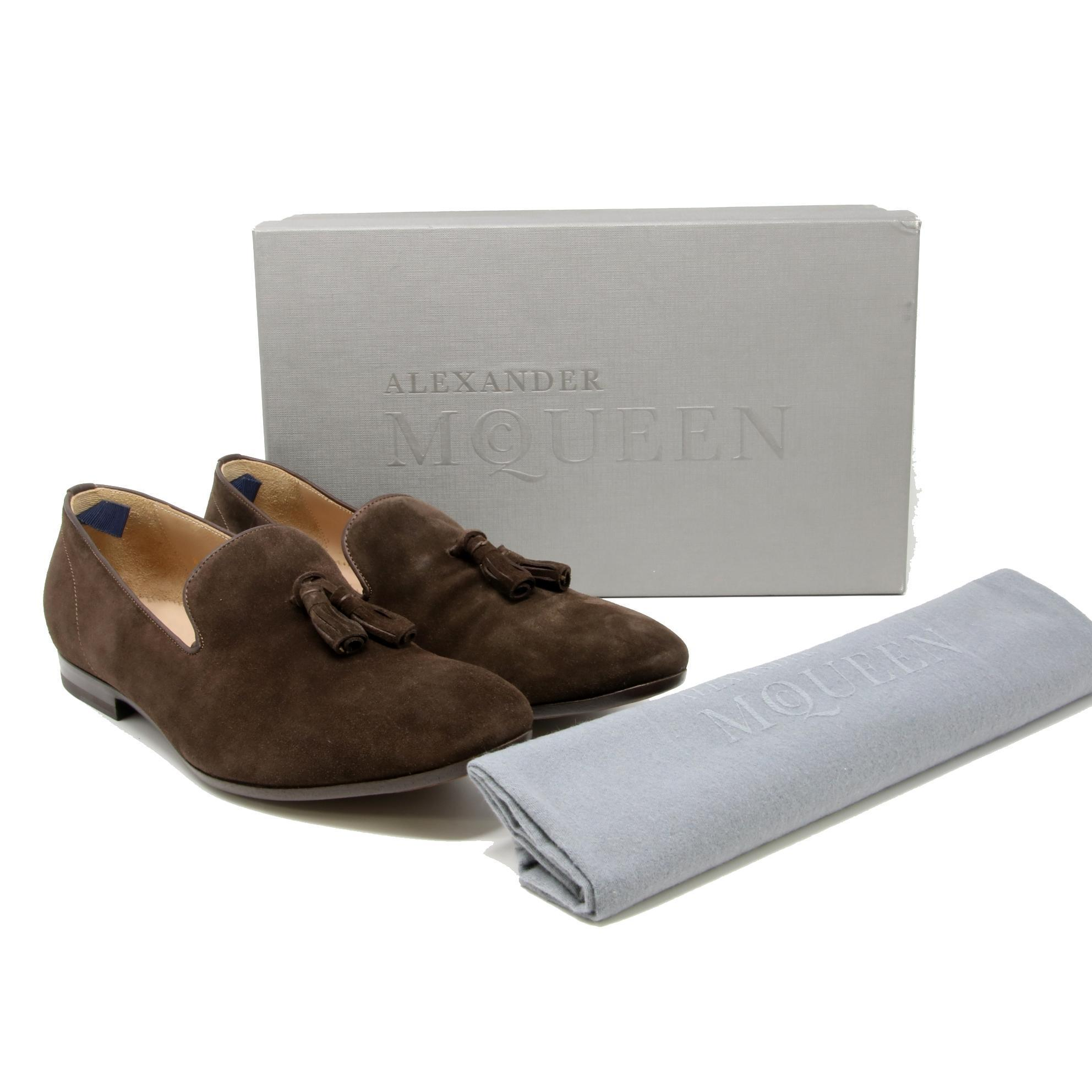 Alexander McQueen Brown Suede Tasseled Slip On Men's Loafers