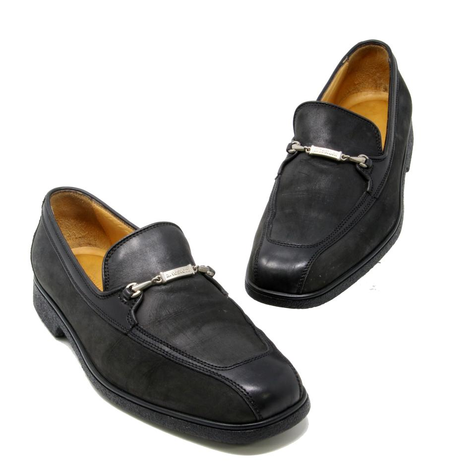 a.testoni Black Leather Moc Toe Logo Stylized Horsebit Loafer Dress Shoes
