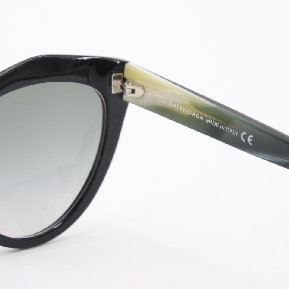 Balenciaga Black Ivory Grey Gradient Smoke Cat-eye Acetate Women's Ba48 Sunglasses