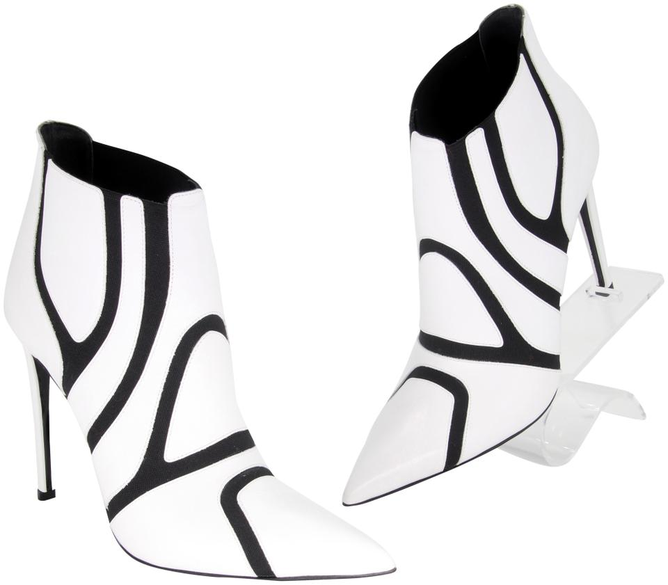 Balenciaga White Symmetric Two Tone Elastic Leather High Heels Boots/Booties