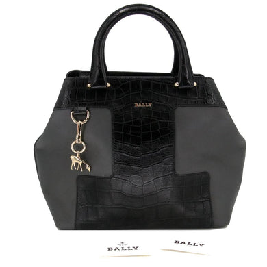 Bally Tote Bag Piaff Croc Embossed Gathered Black Pewter Crocodile Skin Leather Satchel