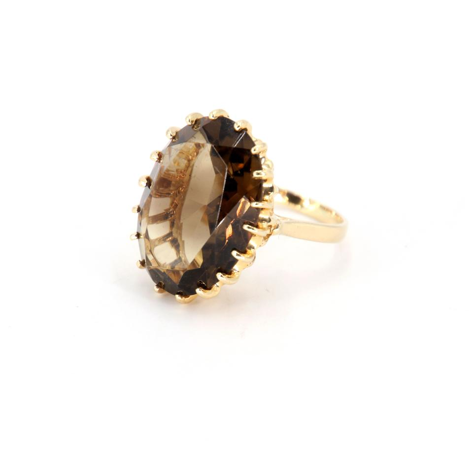 Barneys New York Brown 4 Ct Smokey Topaz Large Opal Cut Luxury Diamante In 14k Gold Ring