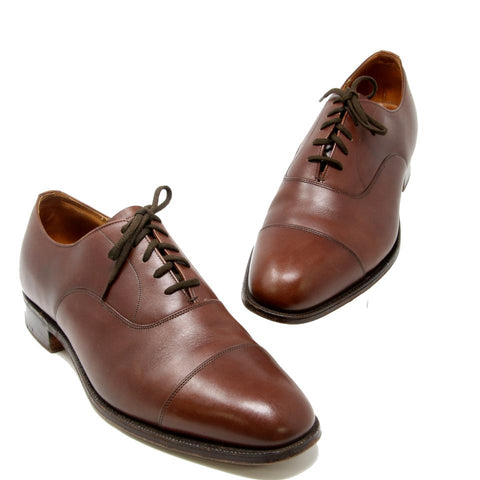 Brown Custom Grade Cap-toe Smooth Leather Lace Up Dress Shoes