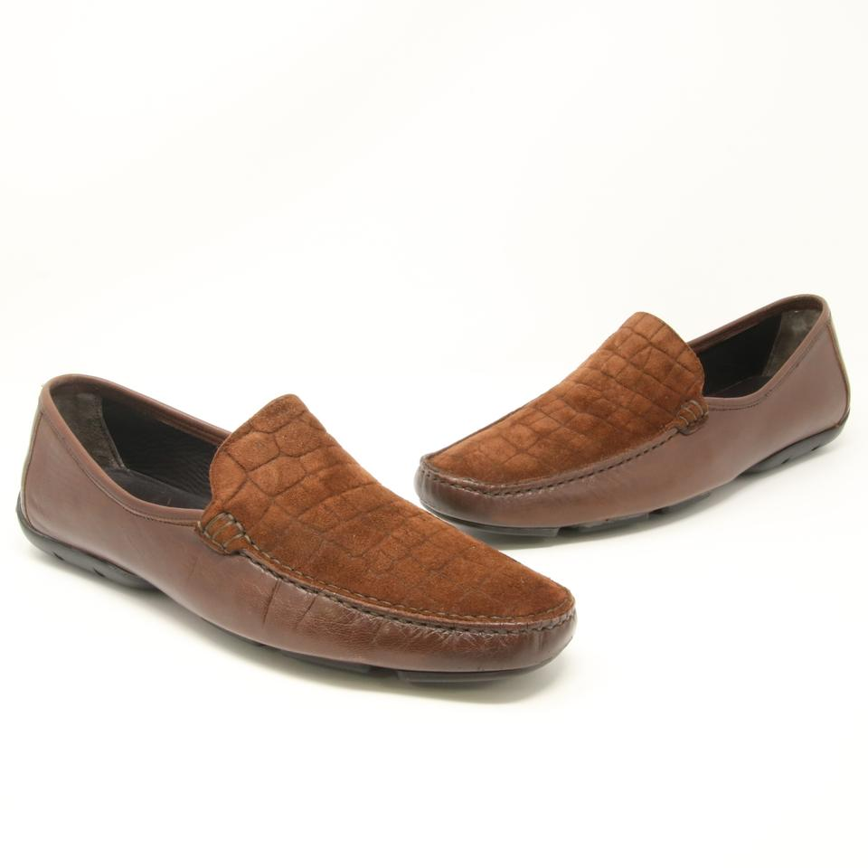 Bruno Magli Brown Signature Croc Embossed Moccasins Loafers Slip On Dress Formal Shoes
