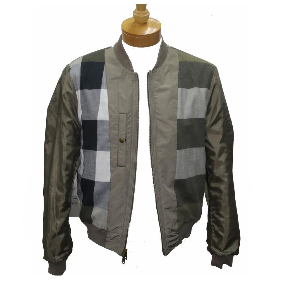 Burberry Brit Olive L Two Tone Nylon Bomber Jacket Size Shirt