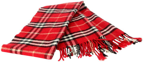 Burberry Red Beige Black The Classic Check Merino Cashmere Scarf/Wrap