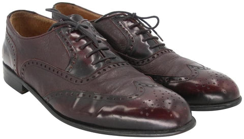 Burgundy Classic Men's Brogue Leather Dress Formal Shoes
