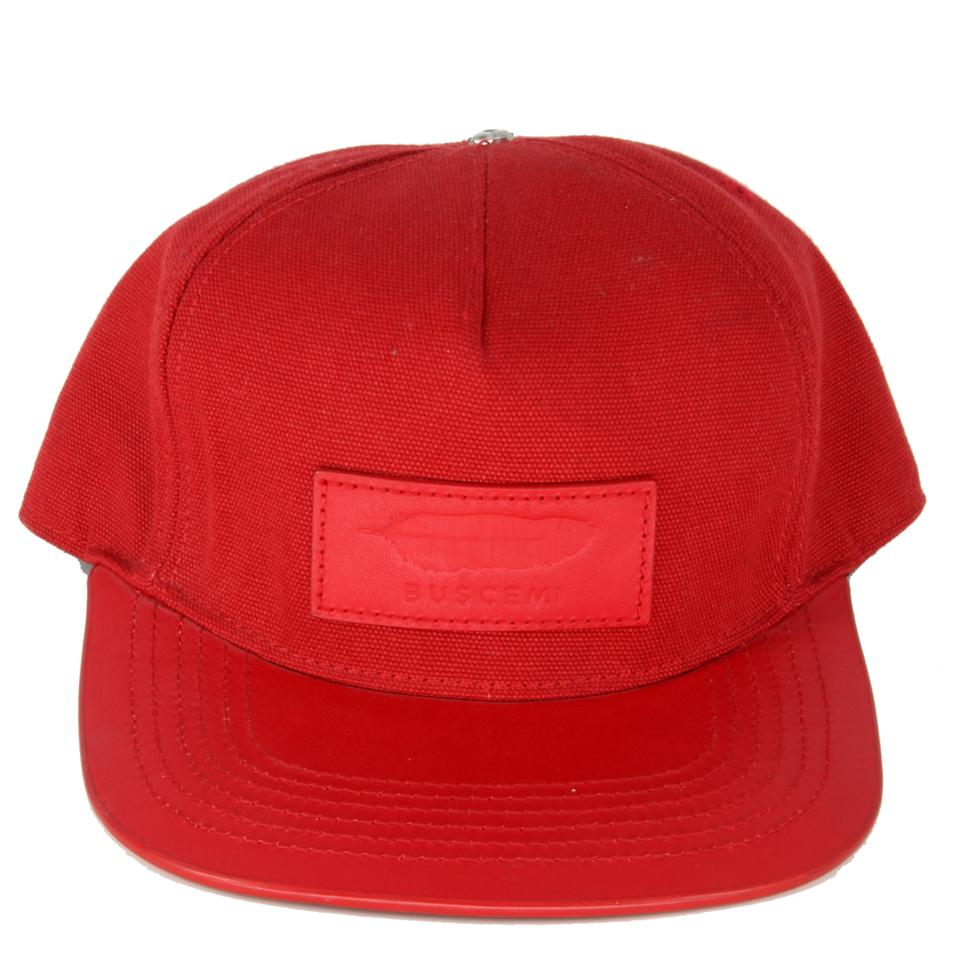 Buscemi Red Adjustable Leather Canvas Made In Italy Hat