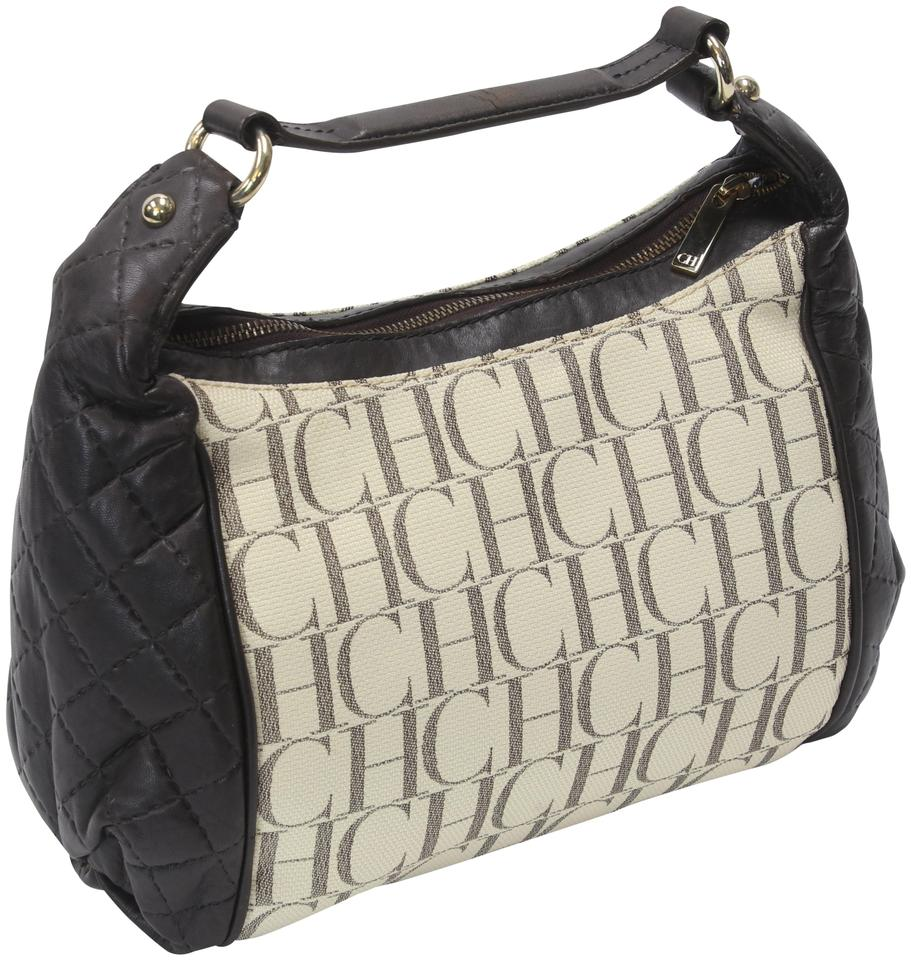 Carolina Herrera Light Beige/Dark Brown Monogram Beige Coated Canvas and Leather Hobo Bag