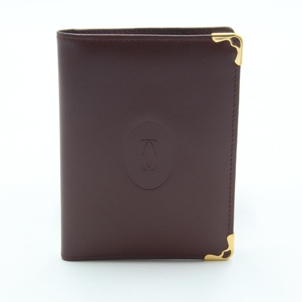 Cartier Burgundy Red Gold-tone Calfskin Leather Embossed Double C Logo Metal Corner Card Holder