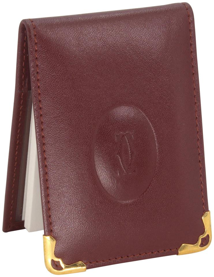Cartier Burgundy Red Grained Leather Double C Embossed Bifold Compact Notepad Card Wallet