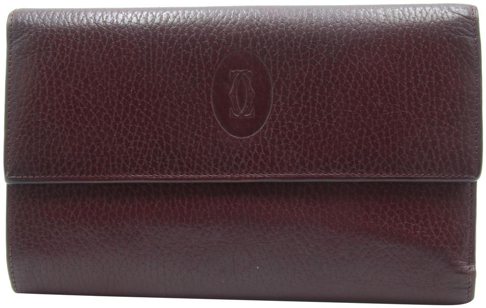 Cartier Burgundy Red Pebbled Leather Logo Large Tri-fold Continental Wallet