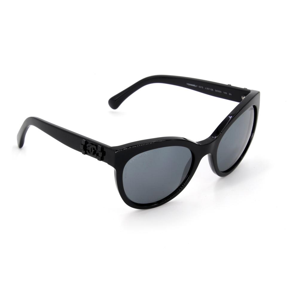 Chanel Black Acetate Frame Tinted Retro Cat Eye 5315 Sunglasses