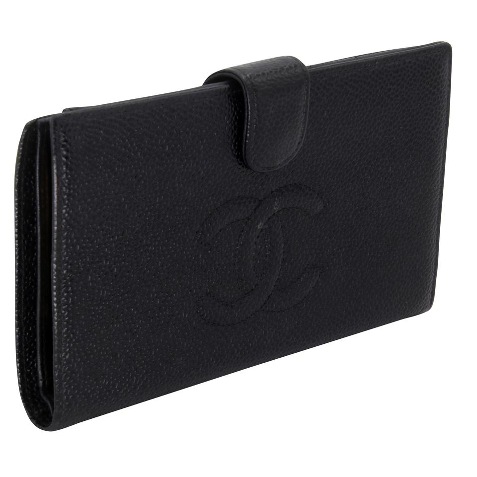 Chanel Caviar Leather CC Long French Purse Wallet