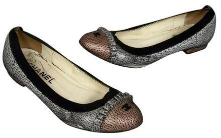 Chanel Two Tone Mesh Metallic Leather Cap Toe Ballet Elastic Flats Size 36.5