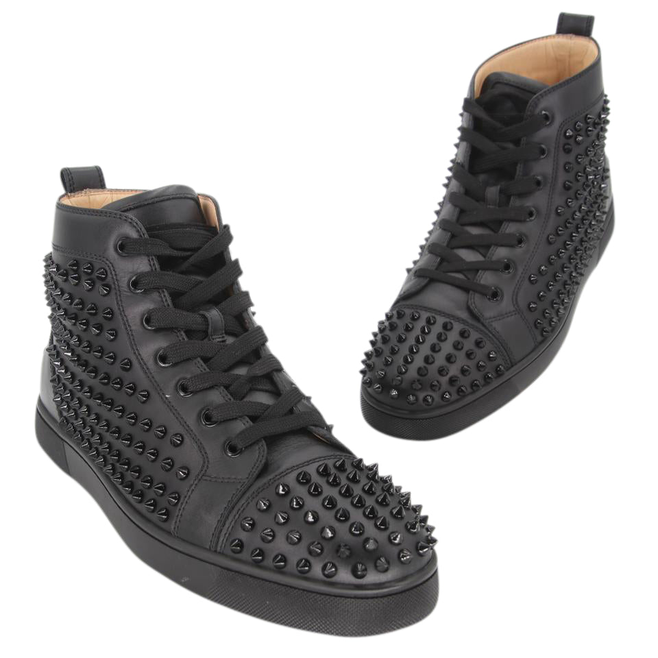 Christian Louboutin Black Louis Flat Spiked High Redbottom ( 10) Sneakers